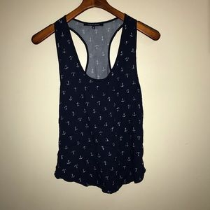 NWOT Silky Racerback Anchor Print Tank Top